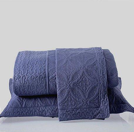 Kit Colcha Queen com Porta Travesseiros Microfibra - Provence Azul