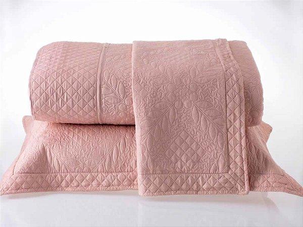 Kit Colcha Queen com Porta Travesseiros Microfibra - Provence Salmão