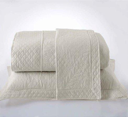 Kit Colcha Solteiro com Porta Travesseiro Microfibra - Provence Bege