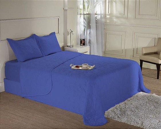 Kit Cobreleito Solteiro de Malha com Porta Travesseiro - Fine Azul - Edromania