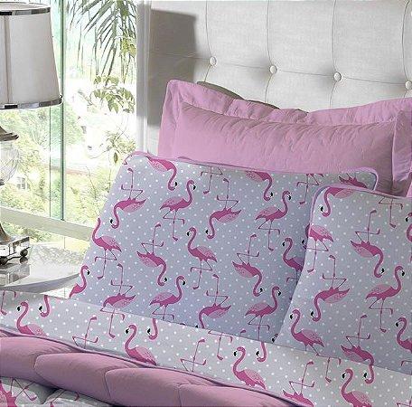 Fronha Avulsa de Malha Estampada Flamingo