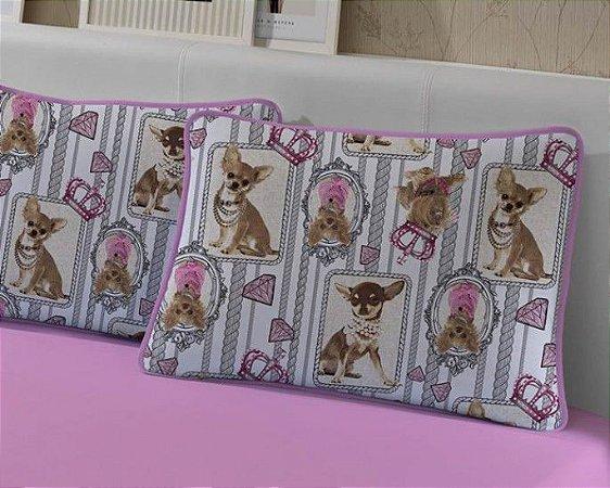 Fronha Avulsa de Malha Estampada Cachorros Candy Rosa - Edromania