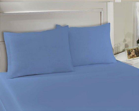 Lençol Avulso com elástico Queen de malha Slim Azul - Edromania