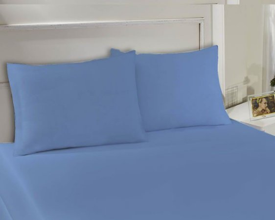Lençol Avulso com elástico Solteiro de malha Slim Azul - Edromania