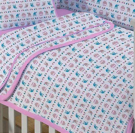 Edredom para Bebê de malha - Estampado Corujinha - Edromania