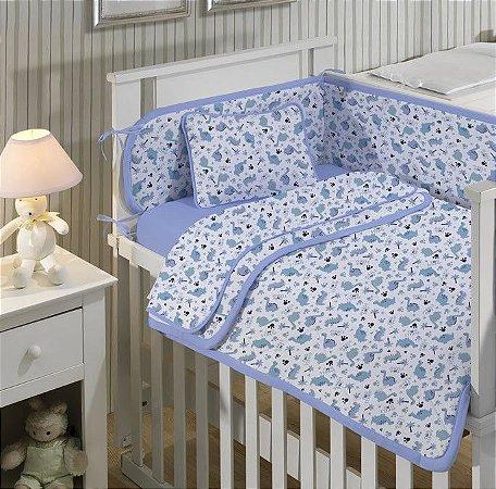 Jogo de Berço Bebê de Malha 3 peças Dino Azul - Edromania