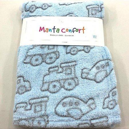 Manta para Bebê Confort super macia 75cm x 100cm - Antialérgica Carros Azul
