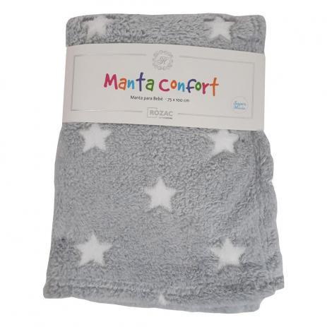 Manta para Bebê Confort super macia 75cm x 100cm - Antialérgica Estrela Cinza