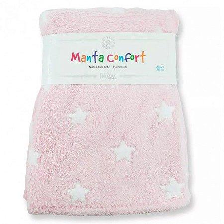 Manta para Bebê Confort super macia 75cm x 100cm - Antialérgica Estrela Rosa