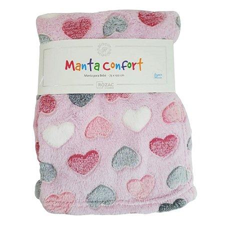 Manta para Bebê Confort super macia 75cm x 100cm - Antialérgica Coração Rosa