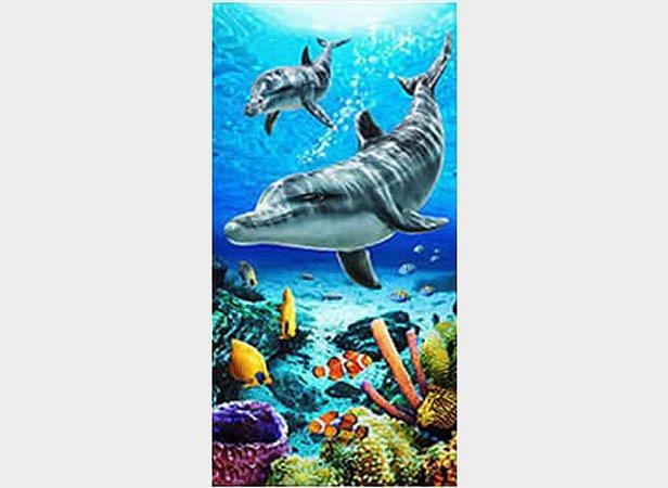Toalha de Praia Fundo de Mar Golfinhos Life Blue - Dohler