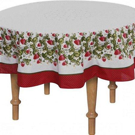 Toalha de Mesa Redonda 160 x 0cm Antiformiga Frutilha Karsten
