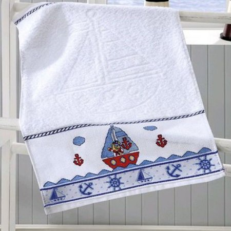 Toalha de Lavabo Branca para Bordar Baby Kids - Marinheiro - Dohler