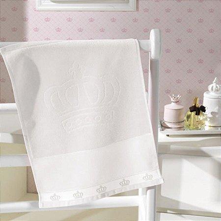 Toalha Lavabo Velour para bordar ponto cruz Baby Classic Coroa Branca - Dohler