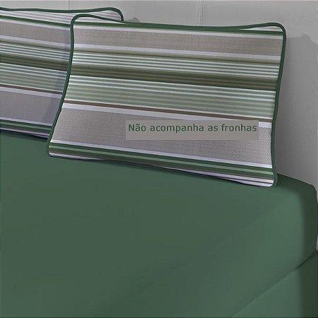 Lençol Avulso com elástico Casal de Malha Slim Edromania - Verde Militar