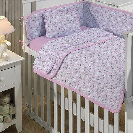 Jogo de Berço Bebê de Malha 3 peças Edromania Céu Rosa