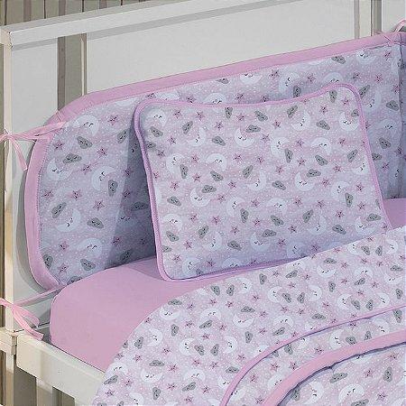 Jogo de Berço 2 peças de Malha Lençol com elástico liso rosa + Fronha Estampada Céu