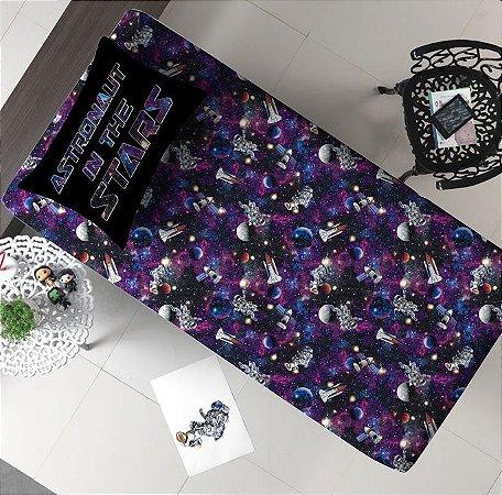 Jogo 2 peças Solteiro de Malha Lençol com elástico Estampado + Fronha estampada Portallar Galaxia Astronauta