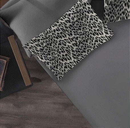 Kit 2 peças Solteiro Lençol com elástico liso + Fronha estampada de Malha Portallar Jaguar