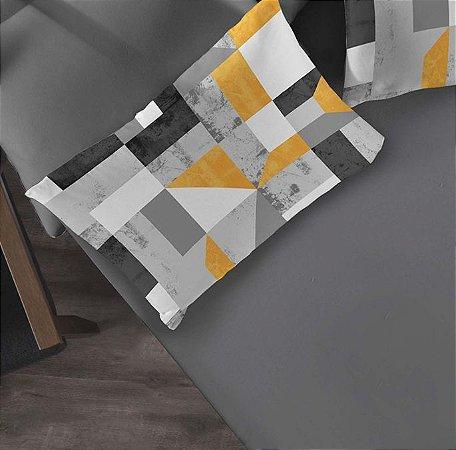 Kit 2 peças Solteiro Lençol com elástico liso + Fronha estampada de Malha Portallar Camurça Cinza