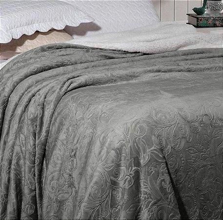 Cobertor Soft Flannel Dupla Face Manta Sherpa - Queen - Vermont InterHome Chumbo Floral
