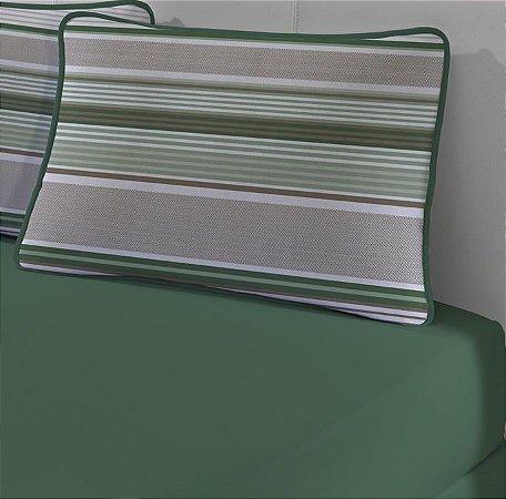 Jogo de Cama Solteiro King 2 peças - lençol com elástico e fronha de Malha Slim Edromania Cestaria Verde