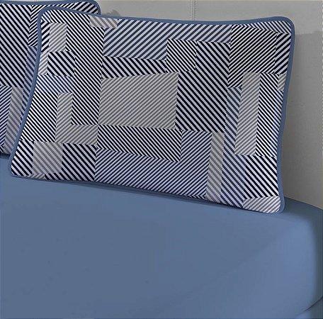 Jogo de Cama Solteiro King 2 peças - lençol com elástico e fronha de Malha Slim Edromania Lyon Azul