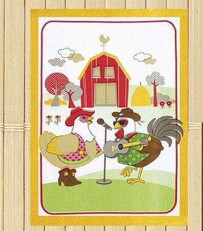 Pano de Copa Felpudo Country Chicken barra amarela - Dohler