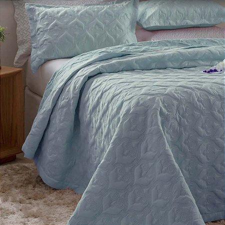 Kit Colcha Queen Madri 3D com Porta Travesseiros Arabesco Azul