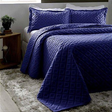 Kit Colcha Queen Madri 3D com Porta Travesseiros Geométrico Marinho