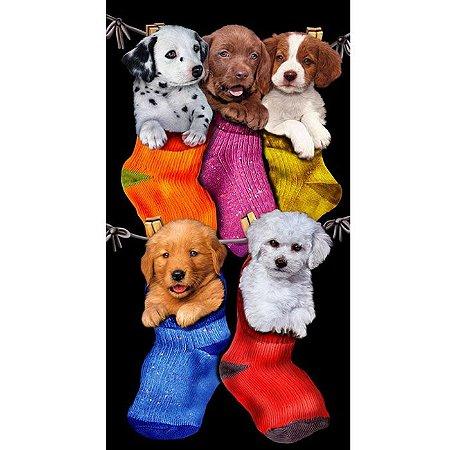 Toalha de Praia aveludada Puppies in the stockings Buettner Cachorros na meia