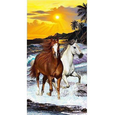 Toalha de Praia aveludada 100% algodão Cavalos Two Horses Buettner