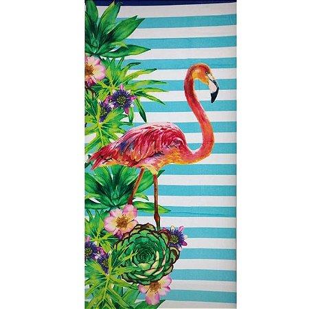 Toalha de Praia aveludada 100% algodão Dohler Flamingo Listra
