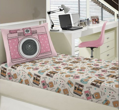 Jogo de Cama Solteiro 2 peças de malha lençol com elástico estampado + fronha Momentos Portal Play