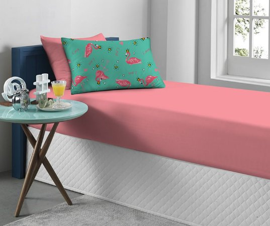 Jogo de Cama Solteiro 2 peças de Malha Flamingo Portallar