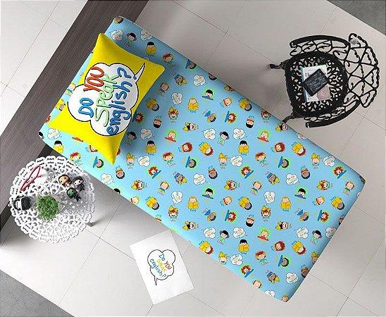 Jogo de Cama Solteiro 2 peças Lençol com elástico estampado e Fronha de Malha Portal Joy Aprender Inglês