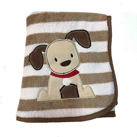 Manta de Bebê Antialérgica Microfibra Buettner Cachorro Marrom