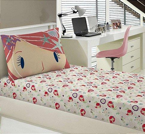 Jogo de Cama Solteiro 2 peças de malha lençol com elástico estampado + fronha Portallar Sleepy Sheep Sereia