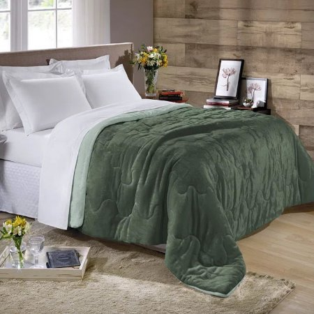 Edredom Queen Plush Flannel Dupla Face Bicolor Verde