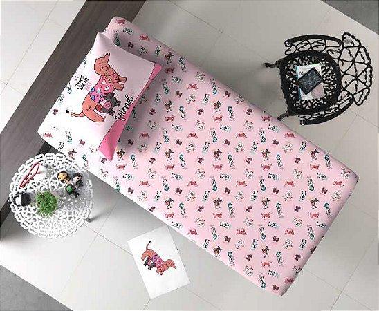 Jogo de Cama Solteiro 2 peças lençol com elástico estampado + fronha de Malha Portal Joy Dog Friends