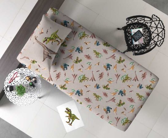 Jogo de Cama Solteiro 2 peças lençol com elástico estampado + fronha de Malha Portal Joy Dinossauro Jurassic