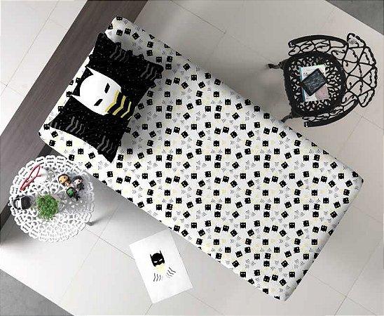 Jogo de Cama Solteiro 2 peças lençol com elástico estampado + fronha de Malha Portal Joy Máscaras