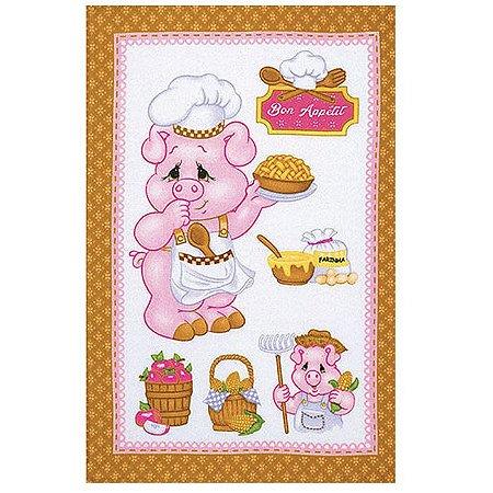 Pano de Copa Felpudo Prata Estampado Happy Kitchen Porquinho Caramelo