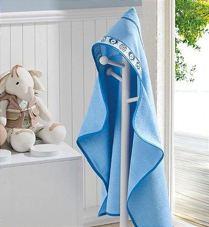 Toalha de Banho com Capuz Felpudo Baby Kids Dohler Azul Animais