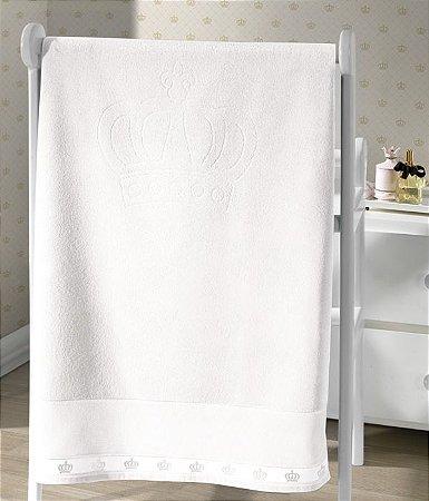 Toalha de Banho Aveludada para Bordar Classic Coroas Branca Dohler