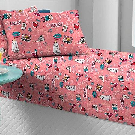 Jogo de Cama Solteiro 2 peças estampado lençol com elástico e fronha de Malha Portal Play Gatocórnio