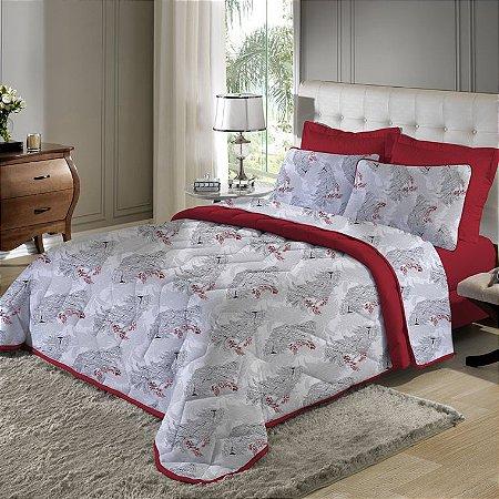 Kit 3 peças Cobreleito King com Porta Travesseiros de Malha Edromania Vermelho Acácia