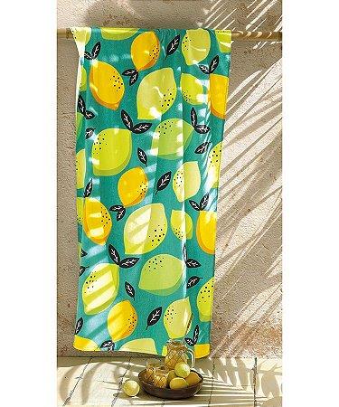 Toalha de Praia Gigante 86cm x 162cm Aveludada Limão Dohler Lemon