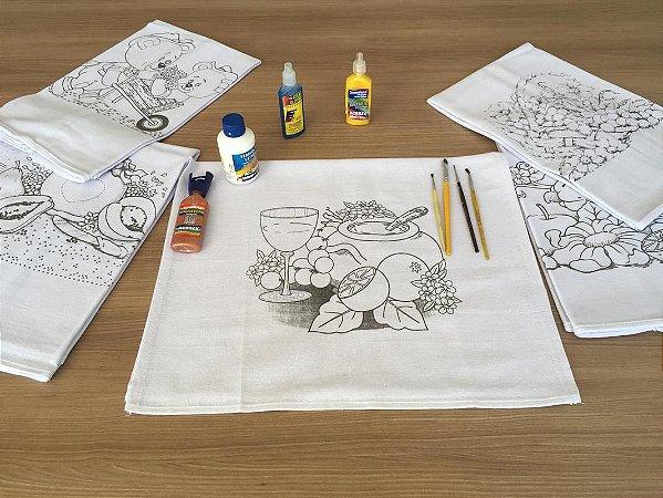 Kit com 3 Pano de Copa Sacaria Algodão com Riscos Variados para Pintura