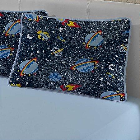 Jogo de Cama Solteiro de Malha 2 peças lençol com elástico azul e Fronha Edromania Planetas